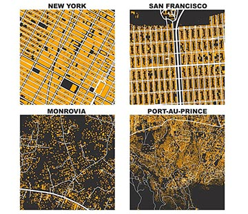 "Street Networks of Every City and Building Prints, Comparing US Cities to Informal Settlements in the Global South .. Image © Geoff Boeing. Graphics from ""Spatial Information and the Legibility of Urban Form: Big Data in Urban Morphology"" Under License CC BY 4.0"